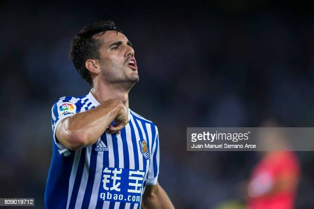 Juan Miguel Jimenez 'Juanmi' of Real Sociedad celebrates after scoring his team's third goal during during the La Liga match between Real Sociedad de...