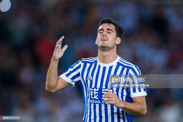 Juan Miguel Jimenez 'Juanmi' of Real Sociedad reacts during the La Liga match between Real Sociedad de Futbol and Villarreal CF at Estadio Anoeta on...