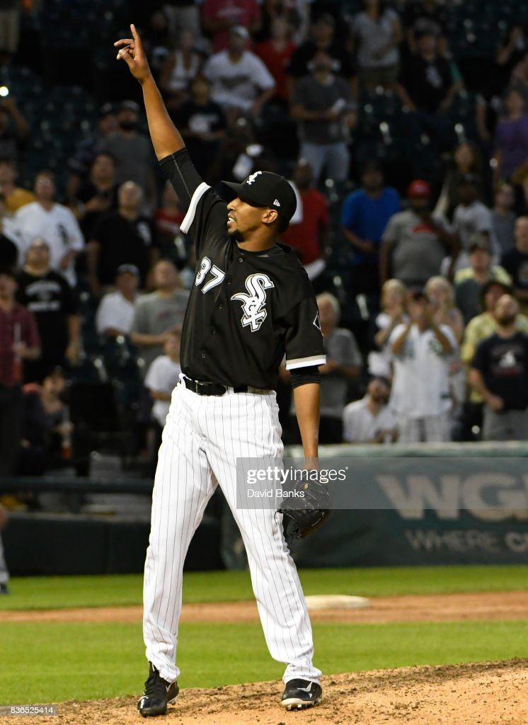 Juan Minaya #37 of the Chicago White Sox reacts as he gets the final out against the Minnesota Twins in game one of a doubleheader on August 21, 2017 at Guaranteed Rate Field in Chicago, Illinois. The White Sox defeated the Twins 7-6.
