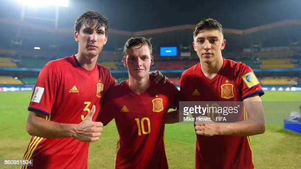 Juan Miranda Sergio Gomez and Cesar Gelabert of Spain celebrate at the end of the FIFA U17 World Cup India 2017 group D match between Spain and Korea...
