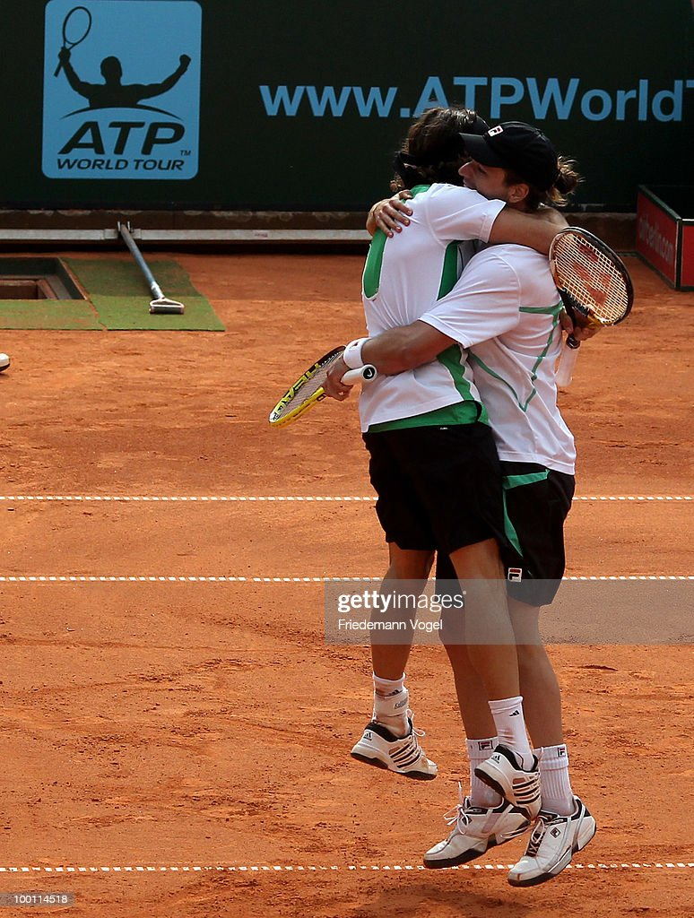 <a gi-track='captionPersonalityLinkClicked' href=/galleries/search?phrase=Juan+Monaco&family=editorial&specificpeople=238877 ng-click='$event.stopPropagation()'>Juan Monaco</a> and <a gi-track='captionPersonalityLinkClicked' href=/galleries/search?phrase=Horacio+Zeballos&family=editorial&specificpeople=5876356 ng-click='$event.stopPropagation()'>Horacio Zeballos</a> of Argentina celebrate after winning the double match against Jeremy Chardy and Nicolas Mahut of France during day six of the ARAG World Team Cup at the Rochusclub on May 21, 2010 in Duesseldorf, Germany.
