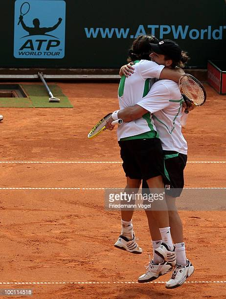 Juan Monaco and Horacio Zeballos of Argentina celebrate after winning the double match against Jeremy Chardy and Nicolas Mahut of France during day...