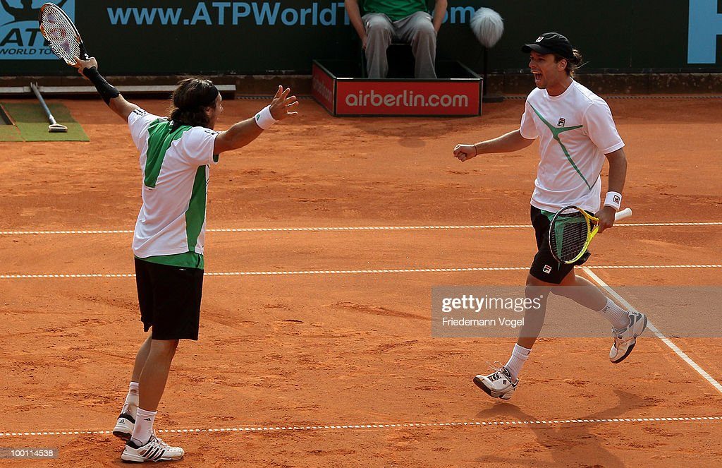 Juan Monaco and Horacio Zeballos of Argentina celebrate after winning the double match against Jeremy Chardy and Nicolas Mahut of France during day six of the ARAG World Team Cup at the Rochusclub on May 21, 2010 in Duesseldorf, Germany.