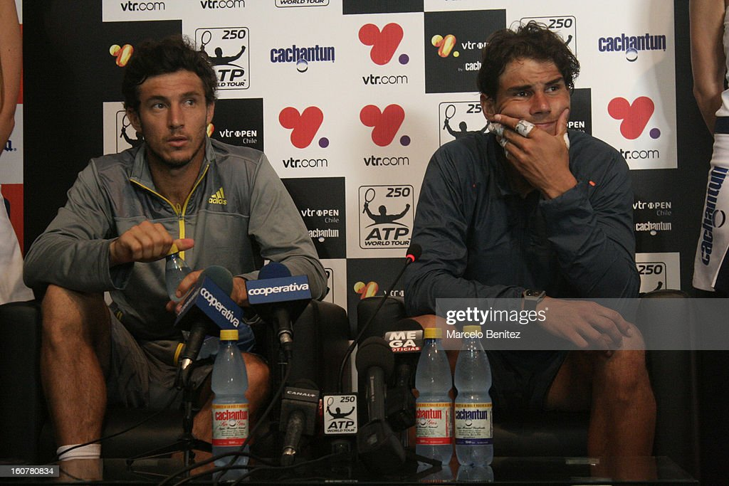 <a gi-track='captionPersonalityLinkClicked' href=/galleries/search?phrase=Juan+Monaco&family=editorial&specificpeople=238877 ng-click='$event.stopPropagation()'>Juan Monaco</a> (L) and <a gi-track='captionPersonalityLinkClicked' href=/galleries/search?phrase=Rafael+Nadal&family=editorial&specificpeople=194996 ng-click='$event.stopPropagation()'>Rafael Nadal</a> (R) speak during a press conference after a double tennis match between <a gi-track='captionPersonalityLinkClicked' href=/galleries/search?phrase=Rafael+Nadal&family=editorial&specificpeople=194996 ng-click='$event.stopPropagation()'>Rafael Nadal</a> and Juan Mónaco against Frantisek Cermak and Lukas Dlouhya of Czechoslovak as part of the day 1 of the ATP Viña del Mar VTR Open 2013 on February 05, 2013 in Viña del Mar, Chile.