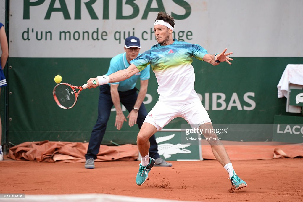 Juan Monaco during the Men's Singles second round on day five of the French Open 2016 at Roland Garros on May 26, 2016 in Paris, France.