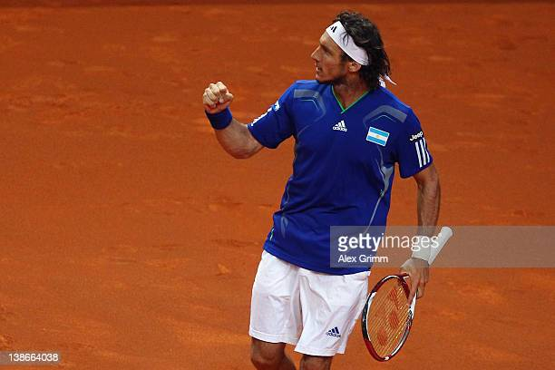 Juan Monaco of Argentina celebrates during his match against Philipp Petzschner of Germany on day 1 of the Davis Cup World Group first round match...