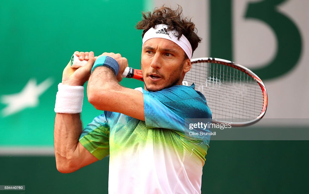 <a gi-track='captionPersonalityLinkClicked' href=/galleries/search?phrase=Juan+Monaco&family=editorial&specificpeople=238877 ng-click='$event.stopPropagation()'>Juan Monaco</a> of Argentina hits a backhand during the Men's Singles second round match against David Ferrer of Spain on day five of the 2016 French Open at Roland Garros on May 26, 2016 in Paris, France.