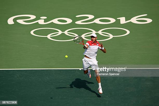 Juan Monaco of Argentina hits during the men's second round singles match against Andy Murray of Great Britain on Day 4 of the Rio 2016 Olympic Games...