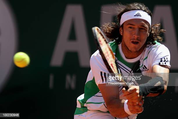Juan Monaco of Argentina in action during his final match against Sam Querrey of USA during day six of the ARAG World Team Cup at the Rochusclub on...
