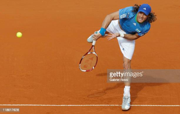 Juan Monaco of Argentina in action during the match between Argentina and Kazakhstan for third day in the quarters final of the Copa Davis at Parque...