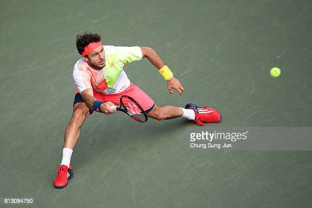 Juan Monaco of Argentina in action during the men's singles quarterfinal match against Marin Cilic of Croatia on day five of Rakuten Open 2016 at...