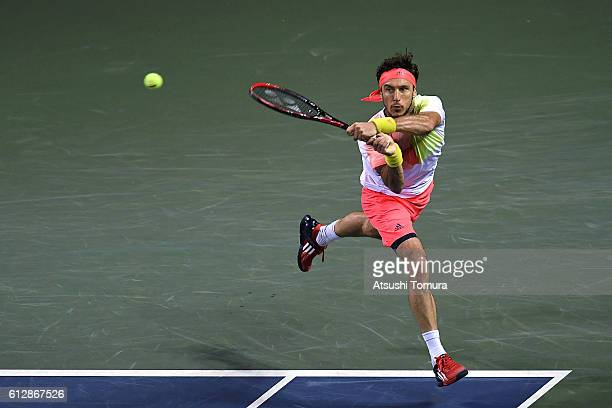 Juan Monaco of Argentina in action during the men's singles second round match against James Duckworth of Australia on day three of Rakuten Open 2016...