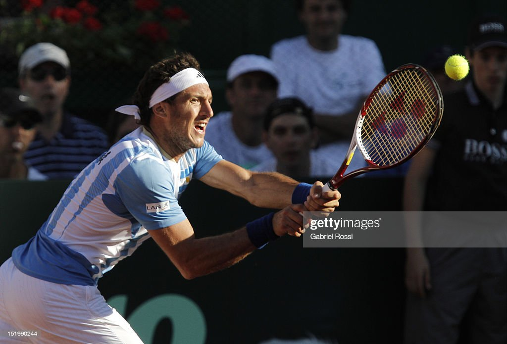<a gi-track='captionPersonalityLinkClicked' href=/galleries/search?phrase=Juan+Monaco&family=editorial&specificpeople=238877 ng-click='$event.stopPropagation()'>Juan Monaco</a> of Argentina in action during the second Davis Cup semi-final match between Argentina and Czech Republic at Mary Ter‡an de Weiss Stadium on September 14, 2012 in Buenos Aires, Argentina.