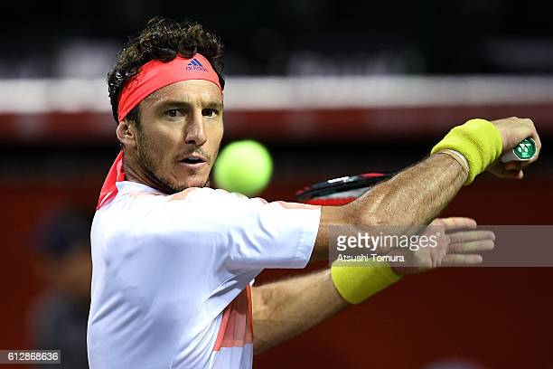 Juan Monaco of Argentina plays a backhand during the men's singles second round match against James Duckworth of Australia on day three of Rakuten...