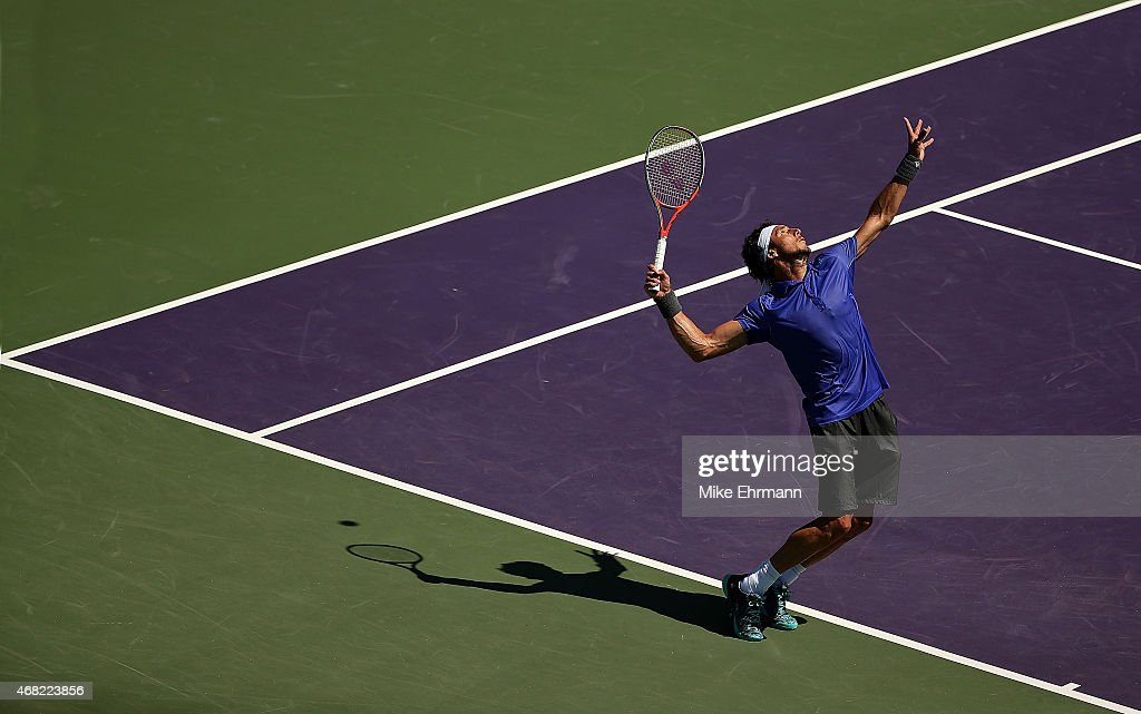 <a gi-track='captionPersonalityLinkClicked' href=/galleries/search?phrase=Juan+Monaco&family=editorial&specificpeople=238877 ng-click='$event.stopPropagation()'>Juan Monaco</a> of Argentina plays a match against Fernando Verdasco of Spain during Day 9 of the Miami Open presented by Itau at Crandon Park Tennis Center on March 31, 2015 in Key Biscayne, Florida.