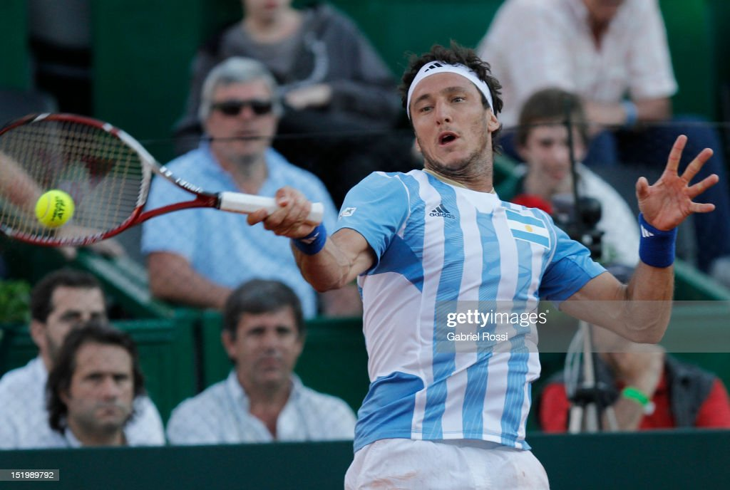 <a gi-track='captionPersonalityLinkClicked' href=/galleries/search?phrase=Juan+Monaco&family=editorial&specificpeople=238877 ng-click='$event.stopPropagation()'>Juan Monaco</a> of Argentina plays a shot during the second Davis Cup semi-final match between Argentina and Czech Republic at Mary Ter‡an de Weiss Stadium on September 14, 2012 in Buenos Aires, Argentina.