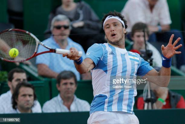 Juan Monaco of Argentina plays a shot during the second Davis Cup semifinal match between Argentina and Czech Republic at Mary Ter‡an de Weiss...