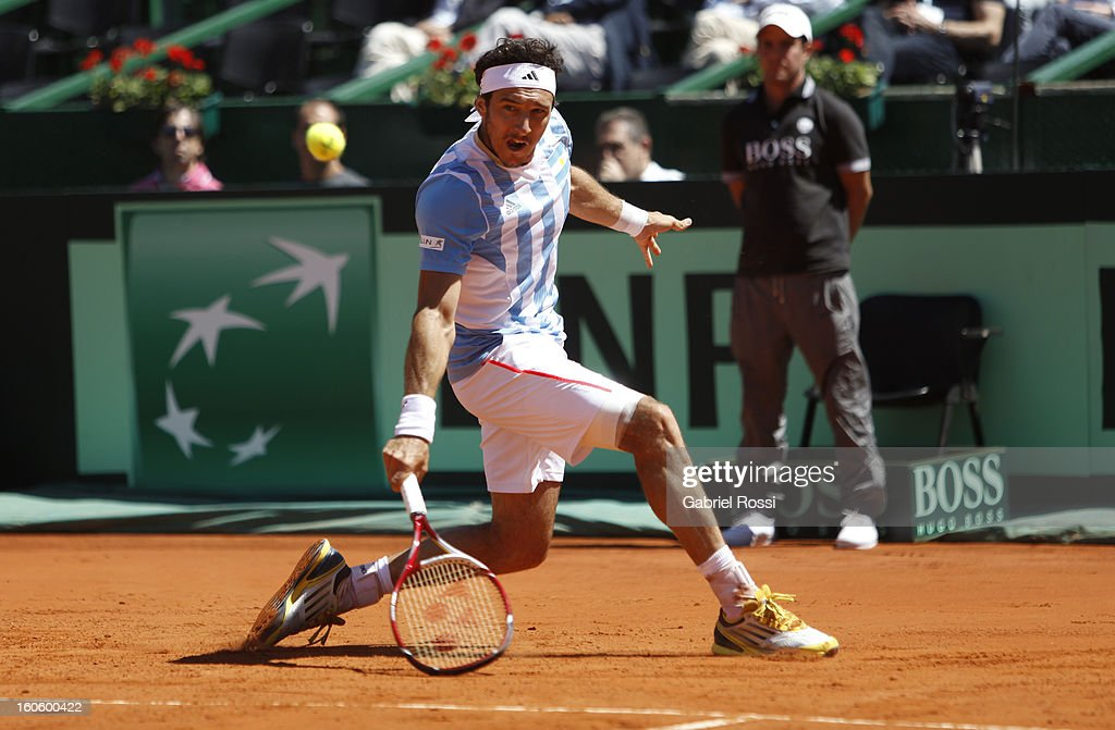 Juan Monaco of Argentina returns the ball to Kamke from Germany during the fourth match between Argentina and Germany in the first round of Copa Davis 2013 at the Parque Roca Stadium on February 03, 2013, Buenos Aires, Argentina.