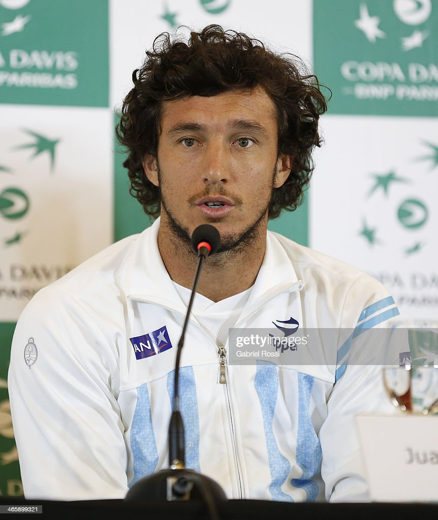 <a gi-track='captionPersonalityLinkClicked' href=/galleries/search?phrase=Juan+Monaco&family=editorial&specificpeople=238877 ng-click='$event.stopPropagation()'>Juan Monaco</a> of Argentina talks during a press conference as part of the Copa Davis Draw between Argentina and Italy at NH Hotel on January 30, 2014 in Buenos Aires, Argentina.