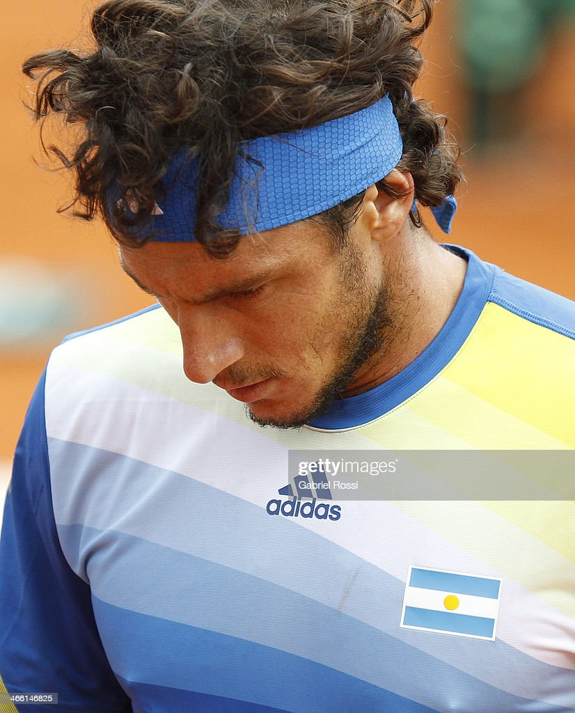 Juan Monaco of Argentine looks defeated during a match between Argentina and Italy as part of the Davis Cup at Patinodromo Stadium on January 31, 2014 in Mar del Plata, Argentina.