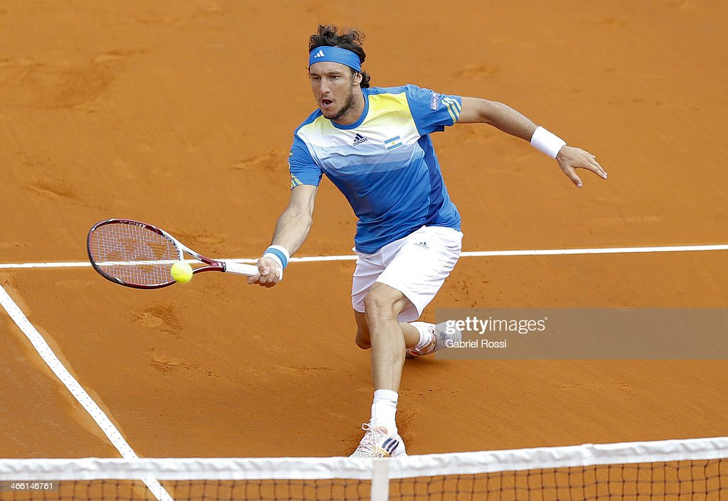 Juan Monaco of Argentine makes a shot during a match between Argentina and Italy as part of the Davis Cup at Patinodromo Stadium on January 31, 2014 in Mar del Plata, Argentina.