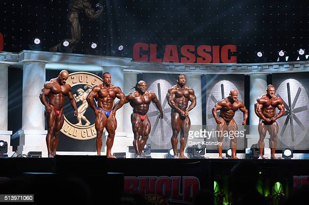 Juan Morel Josh Lenartowicz Kai Greene Cedric McMillan Branch Warren and Justin Compton compete onstage in the Arnold Classic at the Arnold Sports...