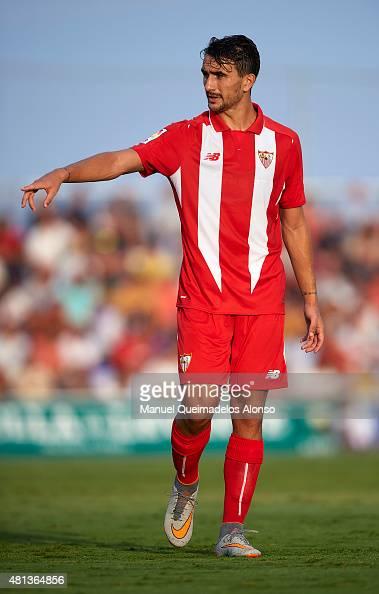 Juan Munoz of Sevilla reacts during a Pre Season Friendly match between Sevilla and Alcorcon at Pinatar Arena Stadium on July 19 2015 in San Pedro de...