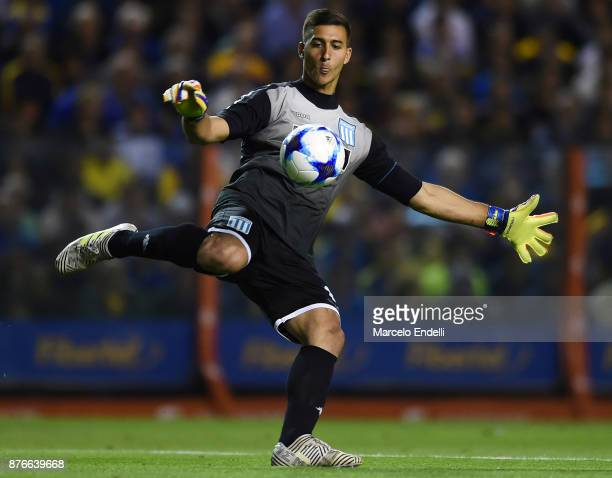Juan Musso goalkeeper of Racing Club kicks the ball during a match between Boca Juniors and Racing Club as part of the Superliga 2017/18 at Alberto J...