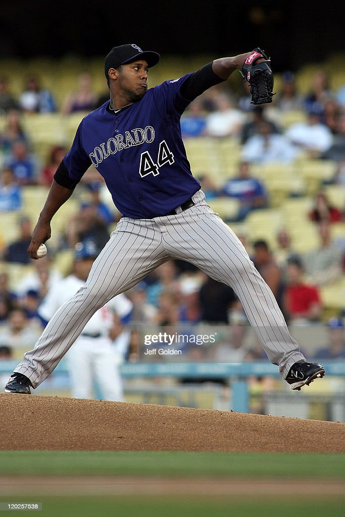 Juan Nicasio #44 of the Colorado Rockies pitches against the Los Angeles Dodgers in the first inning of the game at Dodger Stadium on July 25, 2011 in Los Angeles, California.