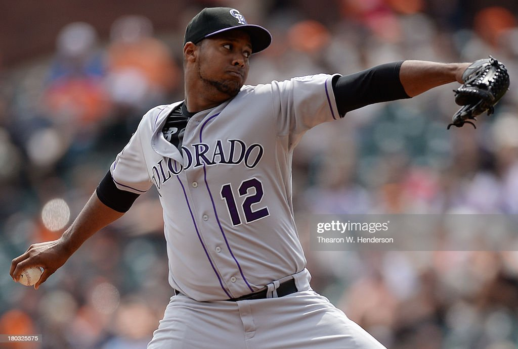 <a gi-track='captionPersonalityLinkClicked' href=/galleries/search?phrase=Juan+Nicasio&family=editorial&specificpeople=6889135 ng-click='$event.stopPropagation()'>Juan Nicasio</a> #12 of the Colorado Rockies pitches against the San Francisco Giants at AT&T Park on September 11, 2013 in San Francisco, California.