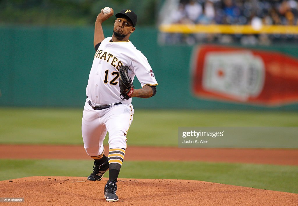 <a gi-track='captionPersonalityLinkClicked' href=/galleries/search?phrase=Juan+Nicasio&family=editorial&specificpeople=6889135 ng-click='$event.stopPropagation()'>Juan Nicasio</a> #12 of the Pittsburgh Pirates pitches in the first inning during the game against the Cincinnati Reds at PNC Park on April 29, 2016 in Pittsburgh, Pennsylvania.