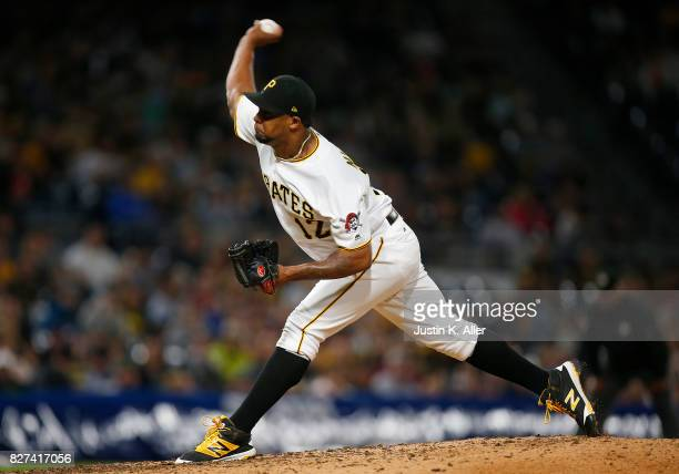 Juan Nicasio of the Pittsburgh Pirates pitches in the ninth inning against the Detroit Tigers during interleague play at PNC Park on August 7 2017 in...