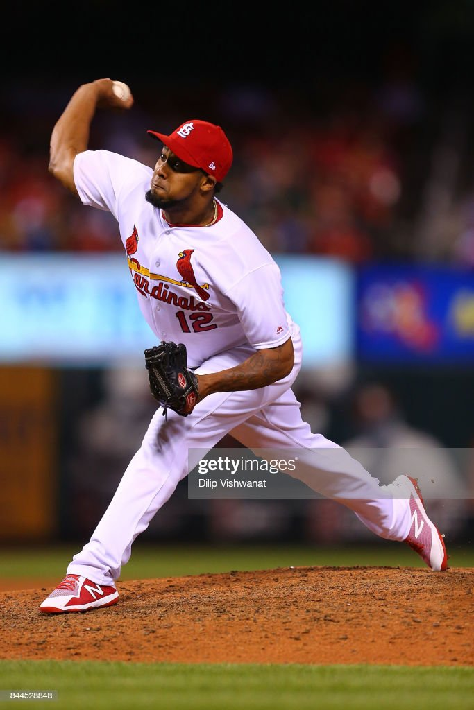 Juan Nicasio #12 of the St. Louis Cardinals pitches against the Pittsburgh Pirates in the eighth inning at Busch Stadium on September 8, 2017 in St. Louis, Missouri.