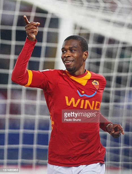 Juan of AS Roma celebrates after scoring the fourth goal during the Serie A match between AS Roma and AC Cesena at Stadio Olimpico on January 21 2012...