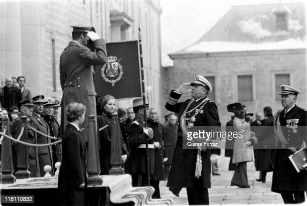 Juan of Borbon greeting his son Juan Carlos de Borbon King of Spain during the transporting of the body of the King Alfonso XIII to El Escorial...
