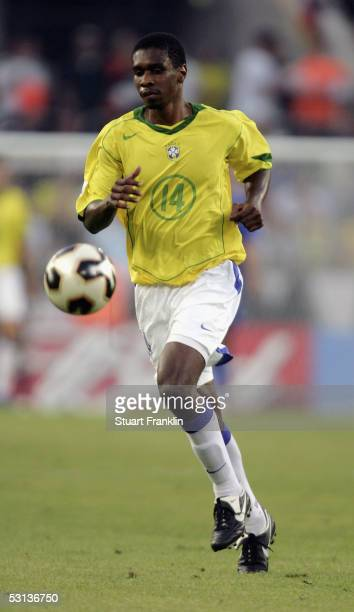Juan of Brazil in action during The FIFA Confederations Cup Match between Japan and Brazil at The Rhein Energy Stadium on June 22 2005 in Cologne...