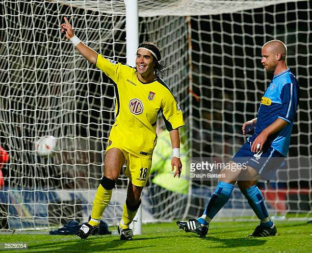 Juan Pablo Angel of Aston Villa celebrates scoring his third goal during the Carling Cup Second Round match between Wycombe Wanderers and Aston Villa...