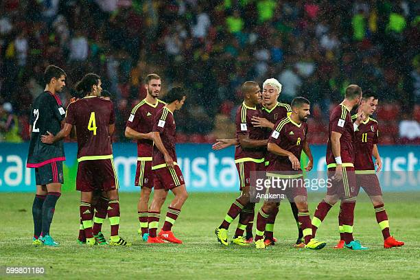Juan Pablo Anor celebrates with teammates after scoring the first goal of his team during a match between Venezuela and Argentina as part of FIFA...