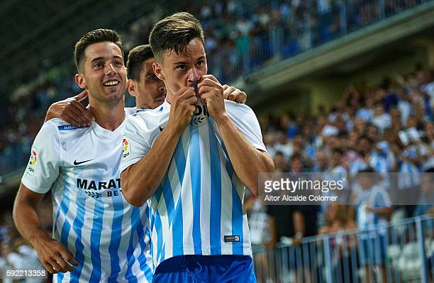 Juan Pablo Anor 'Juanpi' of Malaga CF celebrates after scoring during the La Liga match between Malaga CF vs CA Osasuna at Estadio La Rosaleda on...