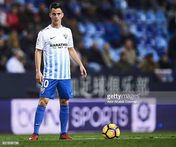 Juan Pablo Anor 'Juanpi' of Malaga CF looks on during the La Liga match between Malaga CF and Real Sociedad de Futbol at La Rosaleda Stadium on...