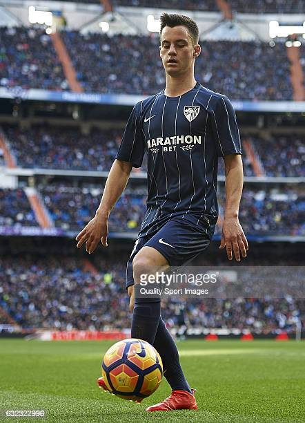 Juan Pablo Anor of Malaga controls the ball during the La Liga match between Real Madrid CF and Malaga CF at Estadio Santiago Bernabeu on January 21...