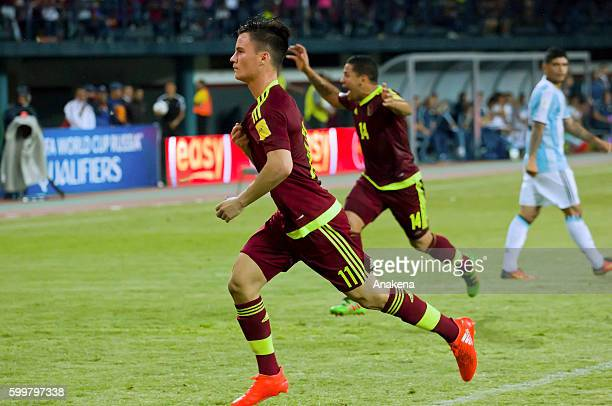 Juan Pablo Añor celebrates after scoring the first goal of his team during a match between Venezuela and Argentina as part of FIFA 2018 World Cup...