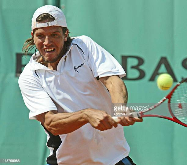 Juan Pablo Brzezicki of Argentina in action during his 3 set loss to Spain's Carlos Moya in the third round of the French Open Roland Garros Paris...