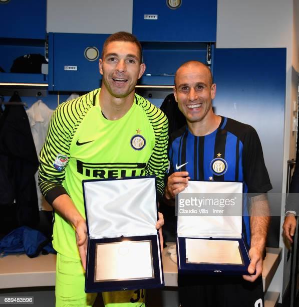 Juan Pablo Carrizo and Rodrigo Sebastian Palacio recived a prize at the end the Serie A match between FC Internazionale and Udinese Calcio at Stadio...