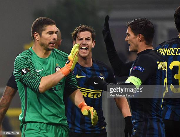 Juan Pablo Carrizo celebrates after saved a penalty during the UEFA Europa League match between FC Internazionale Milano and AC Sparta Praha at...