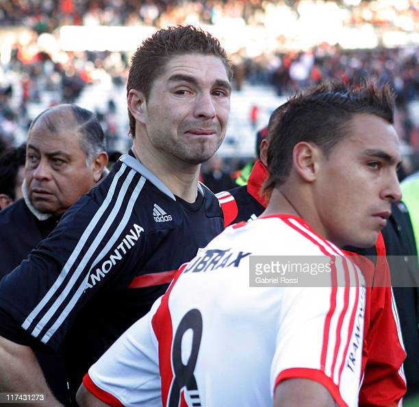 Juan Pablo Carrizo from Rive Plate cries after being defeated by Belgrano de Cordoba at the Monumental Vespucio Liberti Stadium on June 26 Buenos...