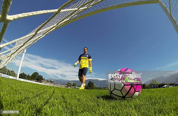 Juan Pablo Carrizo in action during FC Internazionale training session at Riscone di Brunico on July 11 2015 in Bruneck Italy