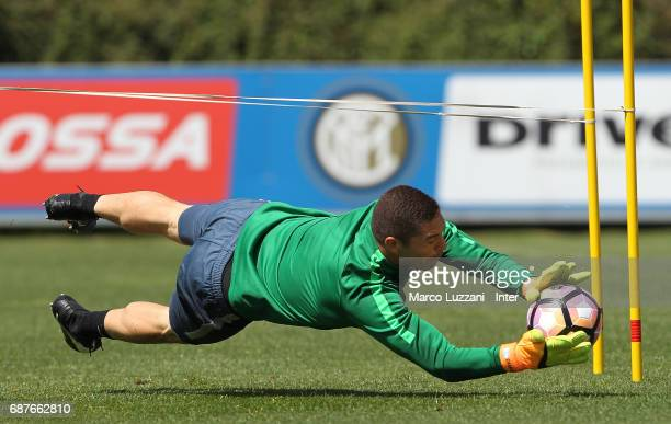 Juan Pablo Carrizo of FC Internazionale dives to save a shot during the FC Internazionale training session at the club's training ground Suning...