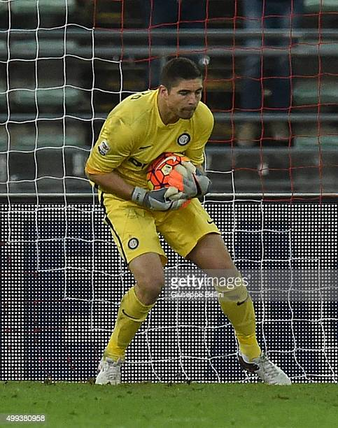 Juan Pablo Carrizo of FC Internazionale in action during a tornemnt between FC Internazionale AC Milan and AS Bari at Stadio San Nicola on November...