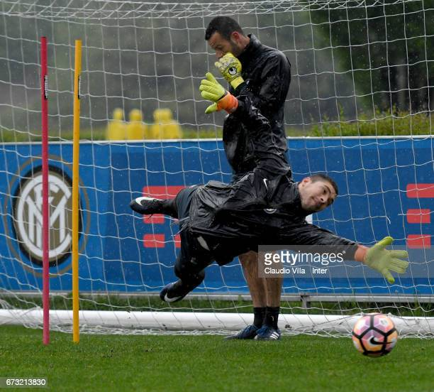 Juan Pablo Carrizo of FC Internazionale in action during FC Internazionale training session at Suning Training Center at Appiano Gentile on April 26...